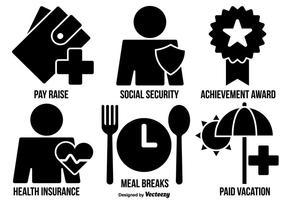 Stile piano delle icone dei benefici dei dipendenti di vettore
