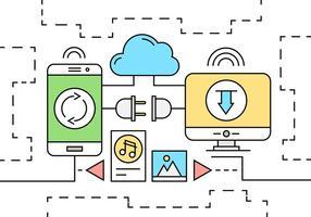 Icone di tecnologia di rete lineare vettore
