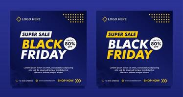 modelli di banner per social media in vendita venerdì nero blu