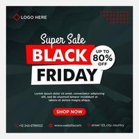 modello di social media di vendita venerdì nero nero, bianco, rosso