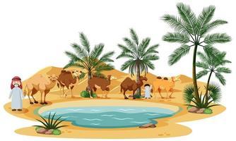 oasi nel deserto con cammello e elementi della natura