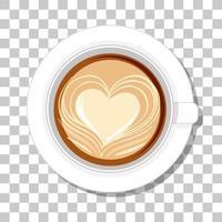 caffè cuore latte in una vista dall'alto della tazza