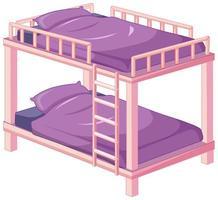 letto a castello rosa viola isolato su sfondo bianco