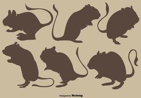 Collezione di Vector Brown Silhouettes Of Gerbil Rodents