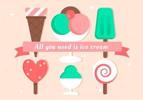 Set gelato design piatto vettoriale gratuito