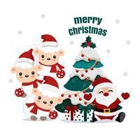 Babbo Natale e simpatici agnelli con albero di Natale e regali