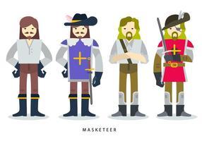 Illustrazione piana di vettore del carattere del costume di Masketeer