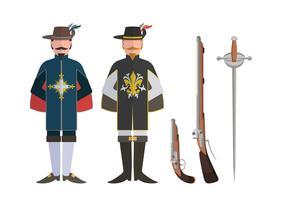 Set vettoriale di moschettiere di caratteri e armi