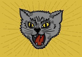 Testa di gatto feroce vettore