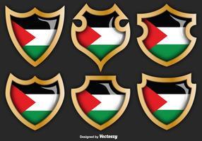 Insieme di vettore dei distintivi della striscia di Gaza con la bandiera su loro