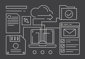 Icone di tecnologia di rete lineare