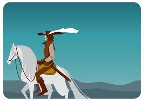 Vettore di moschettiere e cavallo bianco