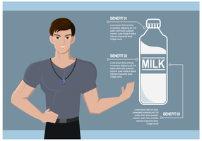 Personal Trainer Talking About Benefits of Milk Vector