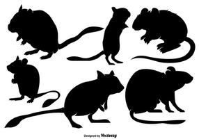 Insieme vettoriale di sagome di Gerbil Rodents