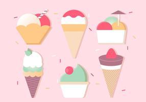 Icone di gelato vettoriali gratis Design piatto