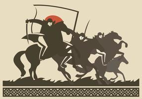 Illustrazione della siluetta di vettore della cavalleria della Japanesse
