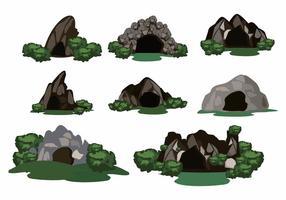 vettore di foresta profonda della scena della caverna