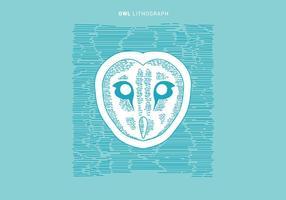Litografia di Owl Vector Illustration