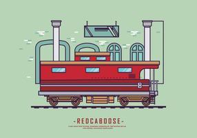 Illustrazione piana di vettore di vettore rosso del caboose