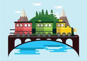 Treno a vapore nel paesaggio vettore