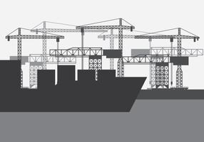 Orizzonte del porto del cantiere navale vettore
