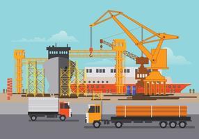Illustrazione del cantiere navale al lavoro e riparare la nave vettore