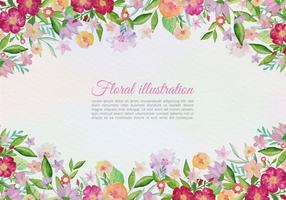 Biglietto di auguri vettoriale gratuito con fiori dipinti