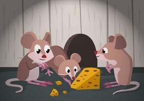 gerbillo che insegue l'illustrazione di vettore del formaggio