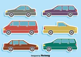 Collezione di auto sul vettore blu