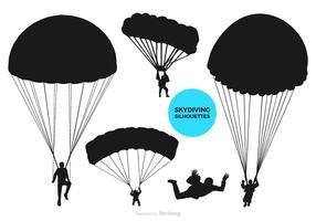 Sagome nere di vettore di parapendio e paracadutismo