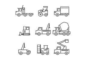 Set di icone di camion di costruzione vettore
