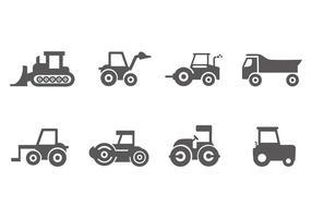 Vettore libero delle icone del veicolo della costruzione