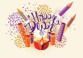 Fire Cracker con Diya decorato per Happy Diwali Holiday. Illustrazione stile retrò