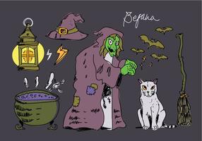 Illustrazione disegnata a mano di vettore della vecchia roba magica di Befana