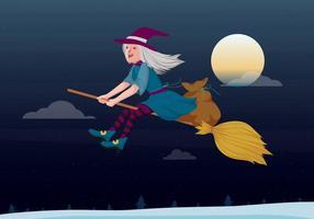 Befana che vola su un'illustrazione di vettore del manico di scopa