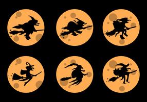 Befana Silhouette con giallo Luna piena vettoriale