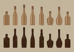 Collezione di bottiglie di vino d'epoca vettore