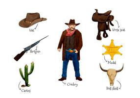 Wild West Elements stile acquerello vettore