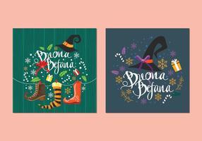 Vettori della carta della tradizione natalizia Buona Befana