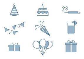 Set di icone di compleanno vettore