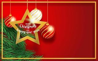 disegno di Natale con rami, stella e palla sul rosso vettore