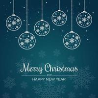 cartolina di Natale con fiocchi di neve e contorni ornamenti appesi