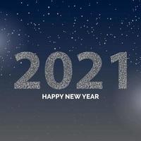 Poster di felice anno nuovo 2021 con fiocchi di neve
