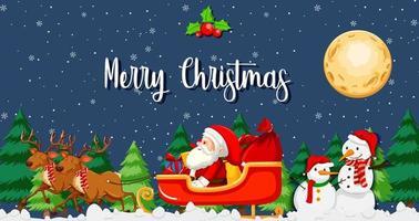 Babbo Natale sulla slitta con scena notturna di renne vettore