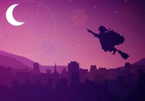 Befana Silhouette notte vettoriali gratis