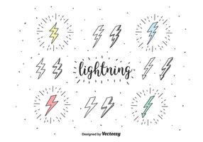 doodle icone vettoriali di fulmini