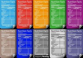 Set di etichette di fatti nutrizionali di vettore