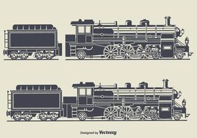 Retro illustrazione di vettore della siluetta del treno