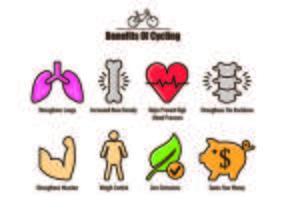 Icone dei vantaggi in bicicletta vettore