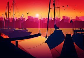 Vettore libero siluetta del tramonto del cantiere navale